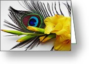 Turquoise And Brown Greeting Cards - Peacock Feather and Gladiola 4 Greeting Card by Sarah Loft