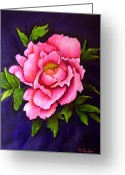 Flower Still Life Prints Greeting Cards - Peony Greeting Card by Anne Barberi