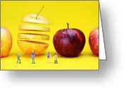 Magic Trick Greeting Cards - People watching the red apples Greeting Card by Mingqi Ge