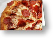 Dinner Greeting Cards - Pepperoni Pizza 2 - Pizzeria - Pizza Shoppe Greeting Card by Andee Photography