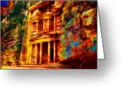 Rabat Painting Greeting Cards - Petra Greeting Card by Catf