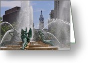 Cityhall Greeting Cards - Philly Fountain Greeting Card by Bill Cannon