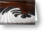 Color Bending Greeting Cards - Piano Surrlistic Greeting Card by Garry Gay