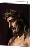 Christian Artwork Painting Greeting Cards - Pictures Of Jesus - John 3 16 No Greater Love - Christian Religious Art Of Christ Paintings Greeting Card by Christian Artist Dale Kunkel