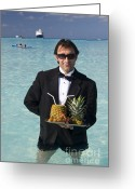 Waiter Greeting Cards - Pina Colada Anyone Greeting Card by David Smith