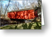 Bill Cannon Greeting Cards - Pine Valley Covered Bridge in Bucks County Pa Greeting Card by Bill Cannon