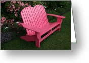Elizabeth Rose Greeting Cards - Pink Adirondack Chair Greeting Card by Elizabeth Rose
