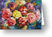 Leonid Afremov Greeting Cards - Pink Flowers Greeting Card by Leonid Afremov