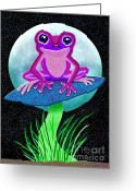 Nick Gustafson Greeting Cards - Pink Frog and Blue Moon Greeting Card by Nick Gustafson