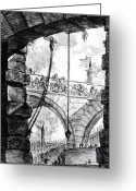 Surrealism Drawings Greeting Cards - Plate 4 from the Carceri series Greeting Card by Giovanni Battista Piranesi