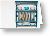 Wooden Ware Greeting Cards - Plate rack Greeting Card by Tom Gowanlock