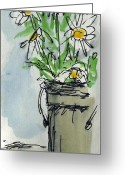 Oil Jewelry Greeting Cards - Plein Air Sketchbook. Ventura California 2011.  Tall bucket of daisies from my backyard Greeting Card by Cathy Peterson