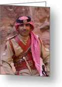 Wearing Greeting Cards - Policeman in Petra Jordan Greeting Card by David Smith