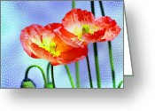 Watercolor Flowers Prints Greeting Cards - Poppy series - Garden Views Greeting Card by Moon Stumpp