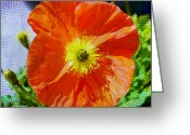 Watercolor Flowers Prints Greeting Cards - Poppy series - Opened to the Sun Greeting Card by Moon Stumpp