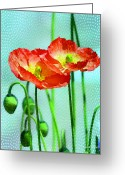 Watercolor Flowers Prints Greeting Cards - Poppy series - Quite Greeting Card by Moon Stumpp