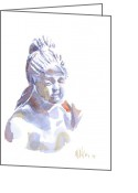Water Colours Greeting Cards - Porcelain Maiden in Watercolor Greeting Card by Kip DeVore