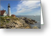Atlantic Ocean Greeting Cards - Portland Head Lighthouse Greeting Card by Mike McGlothlen