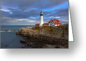 Safe Haven Greeting Cards - Portland Lighthouse Greeting Card by Jack Nevitt