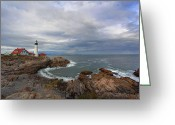 Safe Haven Greeting Cards - Portland Lighthouse Wide Angle Greeting Card by Jack Nevitt