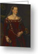 Hair Ornaments Greeting Cards - Portrait of a Lady Greeting Card by Jacopo Zucchi