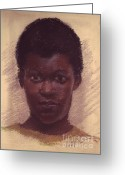 Russell Kightley Greeting Cards - Portrait of Black Girl Greeting Card by Russell Kightley