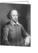 Featured Greeting Cards - Portrait of William Shakespeare Greeting Card by English School