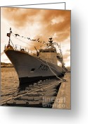 Nrp Vasco Da Gama Greeting Cards - Portuguese Navy frigate F330 Greeting Card by Gaspar Avila