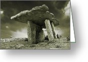 Barren Limestone Greeting Cards - Poulnabrone Dolmen Clare Ireland Sepia Greeting Card by Jane McIlroy
