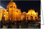 Boda Greeting Cards - Prague at night - 02 Greeting Card by Gregory Dyer