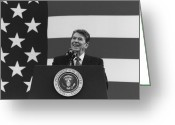 Featured Greeting Cards - President Reagan American Flag  Greeting Card by War Is Hell Store
