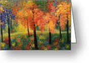 Trees Ceramics Greeting Cards - Private Club Greeting Card by Jacqueline De Maillard