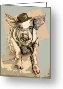 Schmidt Greeting Cards - Professor Pigglesworth Greeting Card by Alison Schmidt Carson