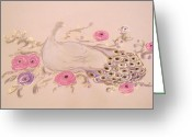 Floral Pastels Greeting Cards - Proud Peacock Greeting Card by Christine Corretti