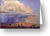 Taos Greeting Cards - Purple Rain Greeting Card by Art West