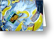 Mechanics Painting Greeting Cards - Quantum Absurdity Greeting Card by Vija Francis-Celmins