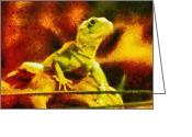 Wild Lizard Greeting Cards - Queen of the Reptiles Greeting Card by Ayse Toyran