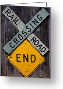 Rail Road Greeting Cards - Rail Road Crossing End sign Greeting Card by Garry Gay