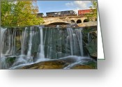 Ebb And Flow Greeting Cards - Railroad Waterfall Greeting Card by Robert Harmon