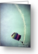 Skydiving Greeting Cards - Rainbow in Motion Greeting Card by Trish Mistric
