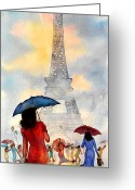 Red Dress Greeting Cards - Raindrops In Paris Greeting Card by John Yato