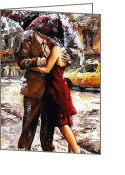 Handsome Greeting Cards - Rainy day - Love in the rain 2 Greeting Card by Emerico Toth