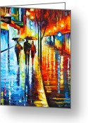 Woman Figure Greeting Cards - Rainy Night in the City Greeting Card by Leonid Afremov