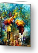 Leonid Afremov Greeting Cards - Rainy Stroll With A Dog Greeting Card by Leonid Afremov