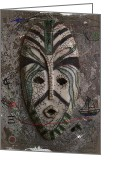 Mood Ceramics Greeting Cards - Raku Mask Greeting Card by Andre Pillay