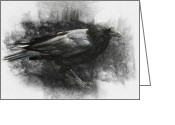 Surrealism Drawings Greeting Cards - Raven Greeting Card by Taylan Soyturk