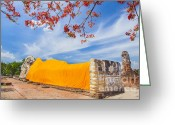 Siamese Photo Greeting Cards - Reclining Buddha at Wat Lokayasutharam Greeting Card by Anek Suwannaphoom