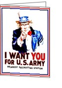 I Want You Greeting Cards - Recruiting Poster - WW1 - I Want You Greeting Card by Benjamin Yeager