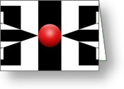 Series Mixed Media Greeting Cards - Red Ball Greeting Card by Mike McGlothlen