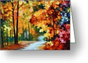 Leonid Afremov Greeting Cards - Red Fall Greeting Card by Leonid Afremov